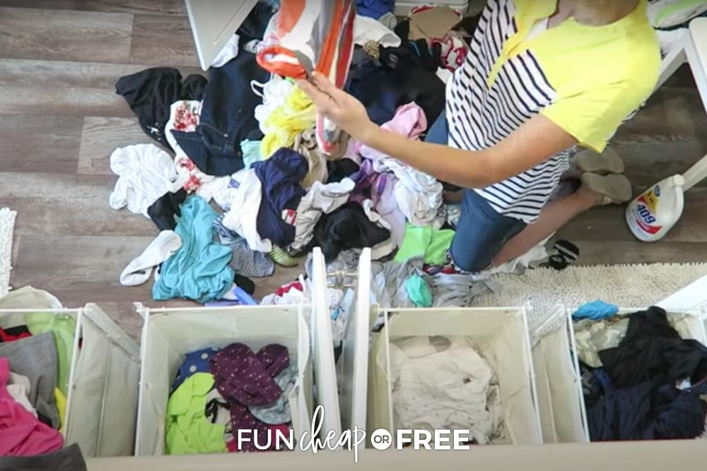 Jordan sorting laundry by texture, from Fun Cheap or Free