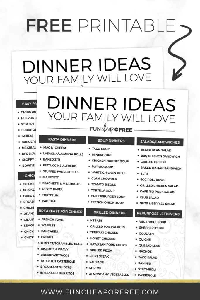 List Of 100 Dinner Ideas Easy Meal Planning Fun Cheap Or Free