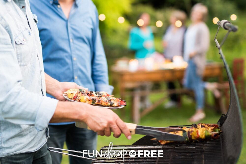 grilling kebabs in the backyard at a  BBQ party, from Fun Cheap or Free