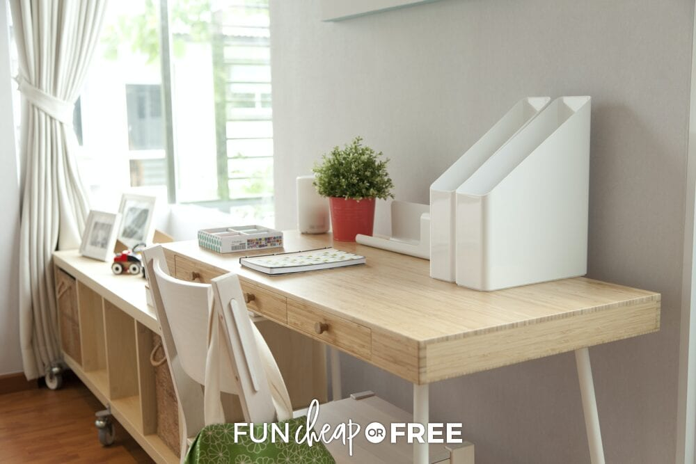 Clean desk area, from Fun Cheap or Free