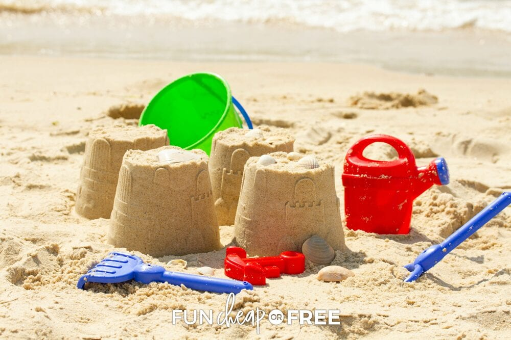sand castle and toys at the beach, from Fun Cheap or Free