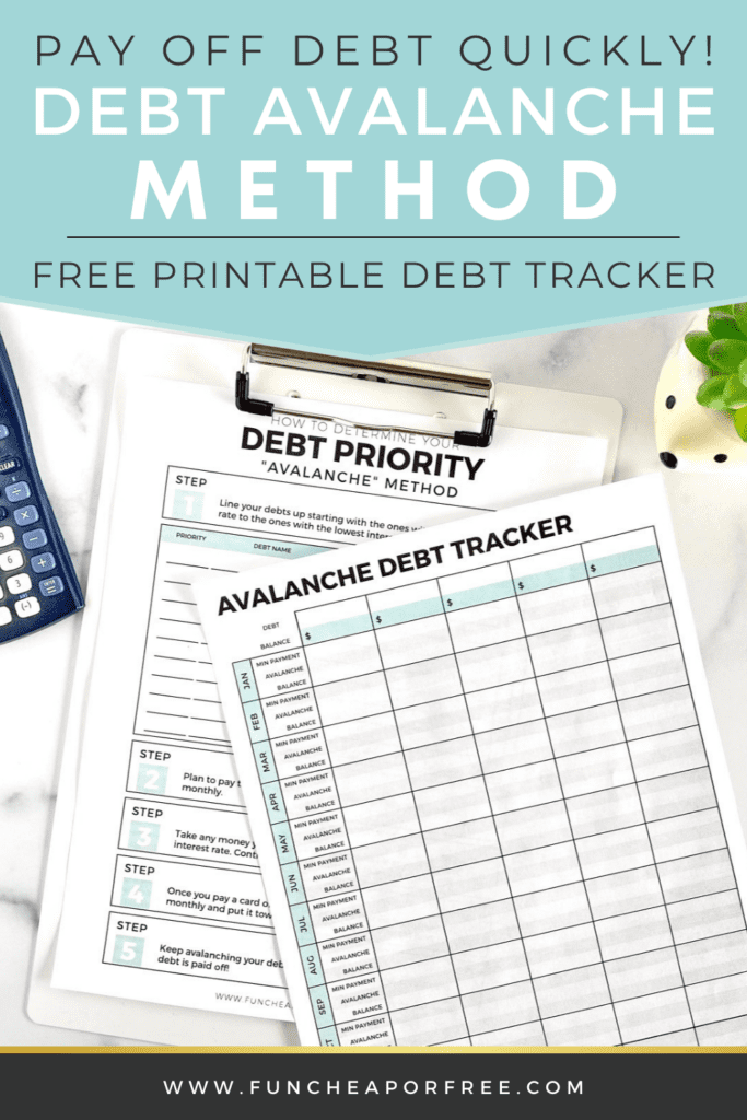Avalanche credit card debt tracker on a counter, from Fun Cheap or Free