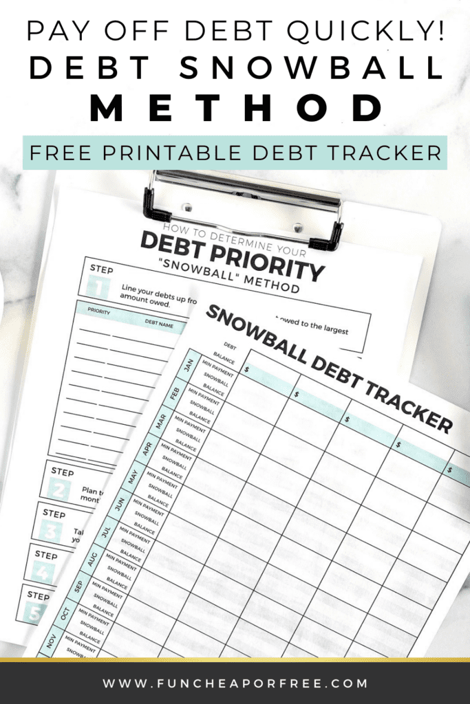 Snowball credit card debt tracker on a counter, from Fun Cheap or Free