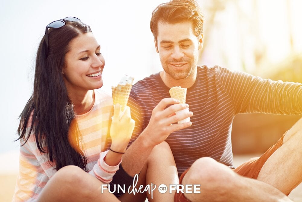 Couple eating ice cream together, from Fun Cheap or Free