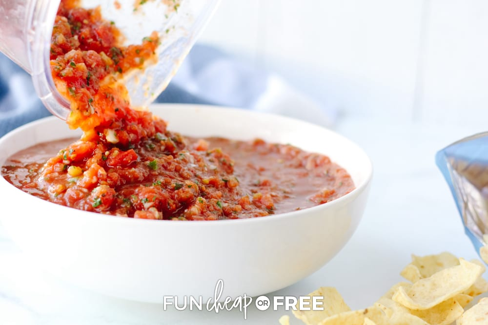 pouring salsa into a bowl, from Fun Cheap or Free