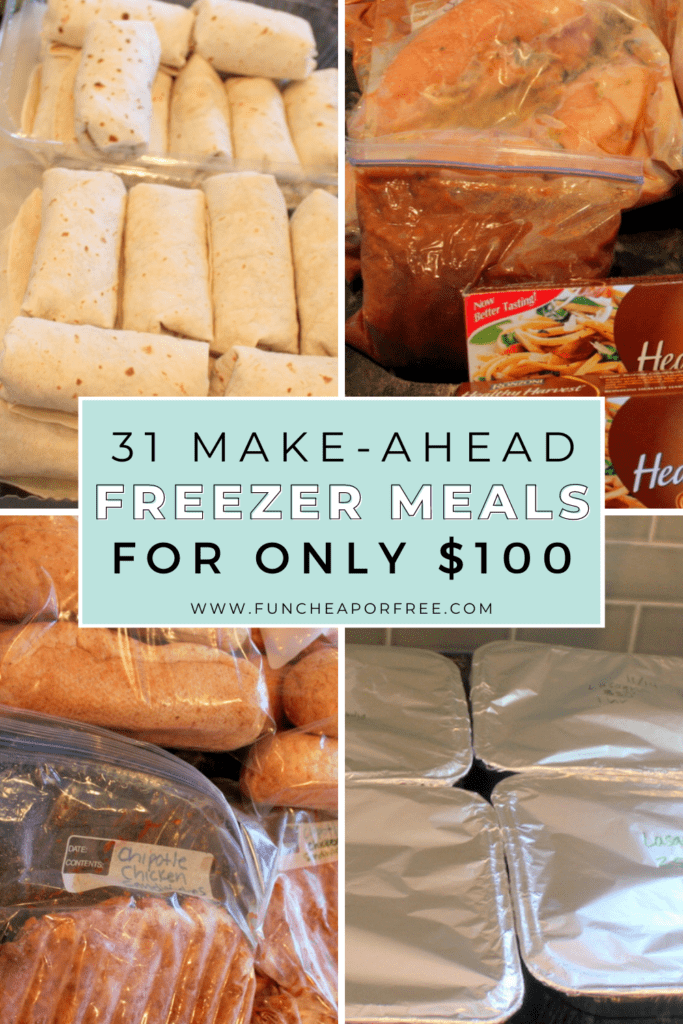 """Image with text that reads """"make-ahead freezer meals"""" from Fun Cheap or Free"""