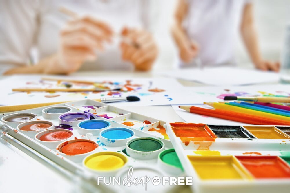 Paints and colored pencils as fun ways to entertain kids, fun, cheap or free