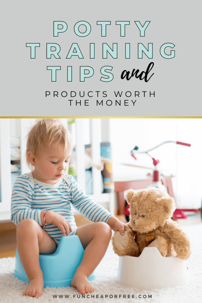 """Image with text that reads """"potty training tips"""" from Fun Cheap or Free"""