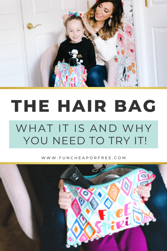 """Image with text that reads """"the hair bag - what it is and why you need to try it!"""", from Fun Cheap or Free"""