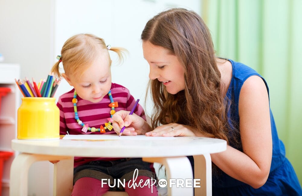 Babysitter and a young girl in pigtails coloring with colored pencils, from Fun Cheap or Free