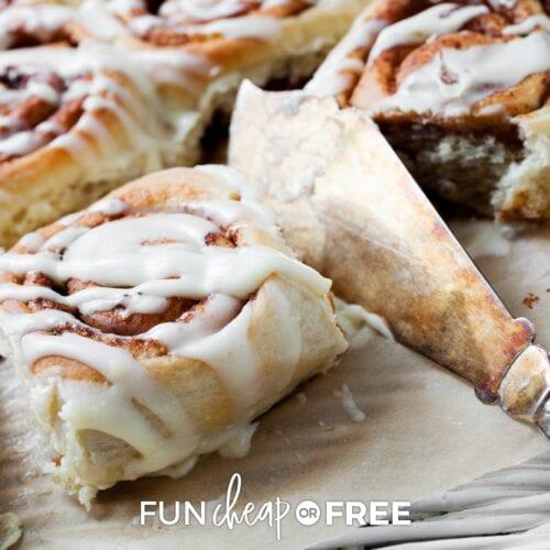 Bread machine cinnamon roll recipe, on a platter, from Fun Cheap or Free