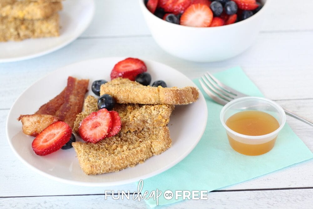 Freezer breakfast French toast sticks on a plate, from Fun Cheap or Free