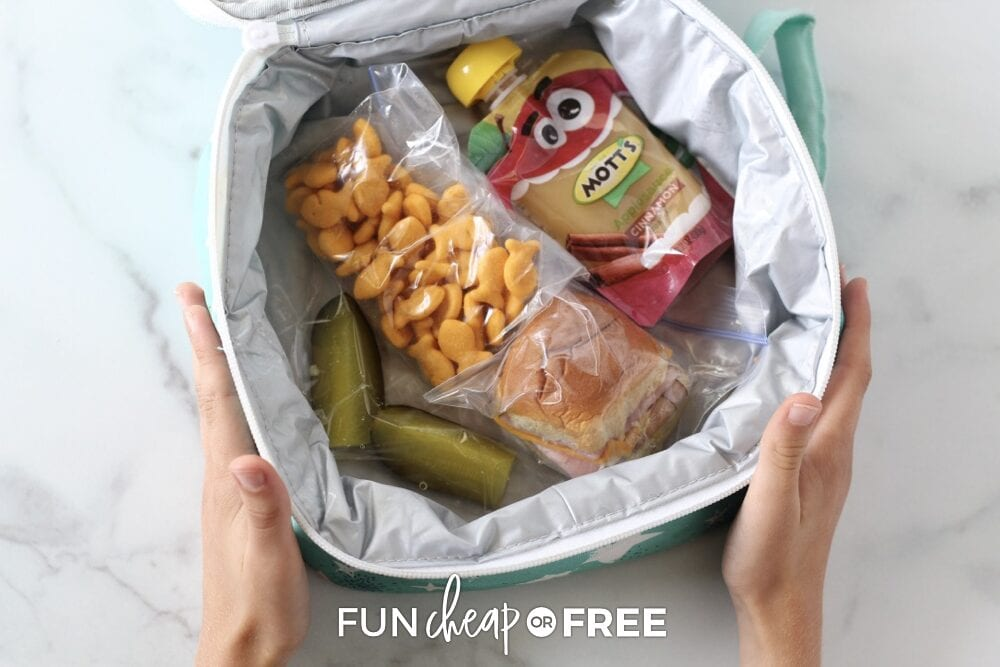 Lunchbox on a counter with sandwich, crackers, pickle, and applesauce pouch, from Fun Cheap or Free