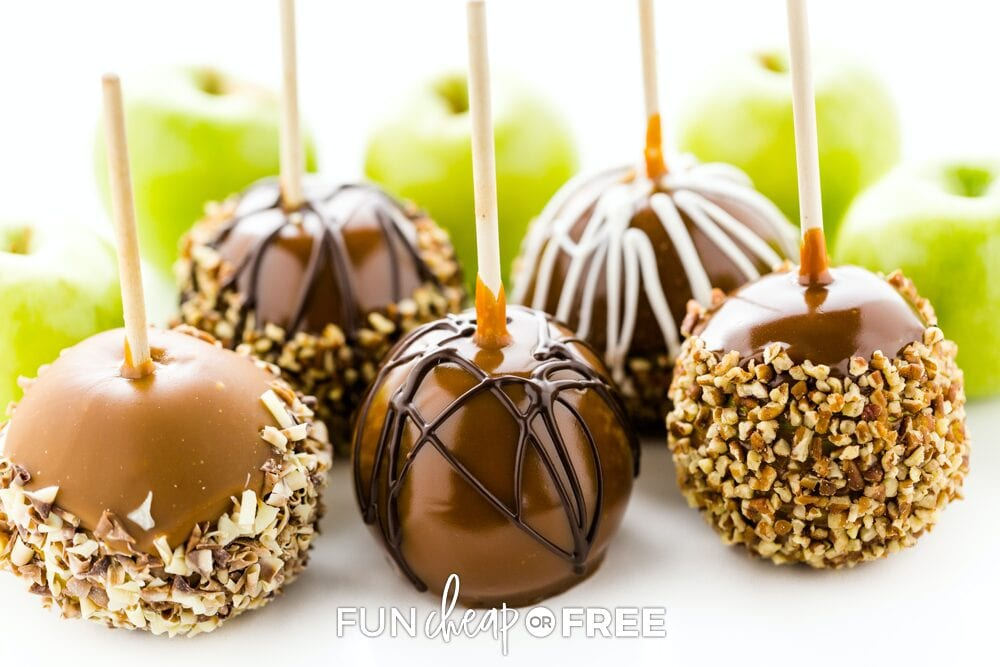 Caramel apples on a stick, from Fun Cheap or Free