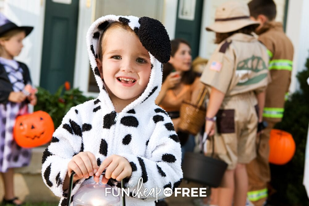 Little boy in homemade Dalmatian costume trick-or-treating, from Fun Cheap or Free