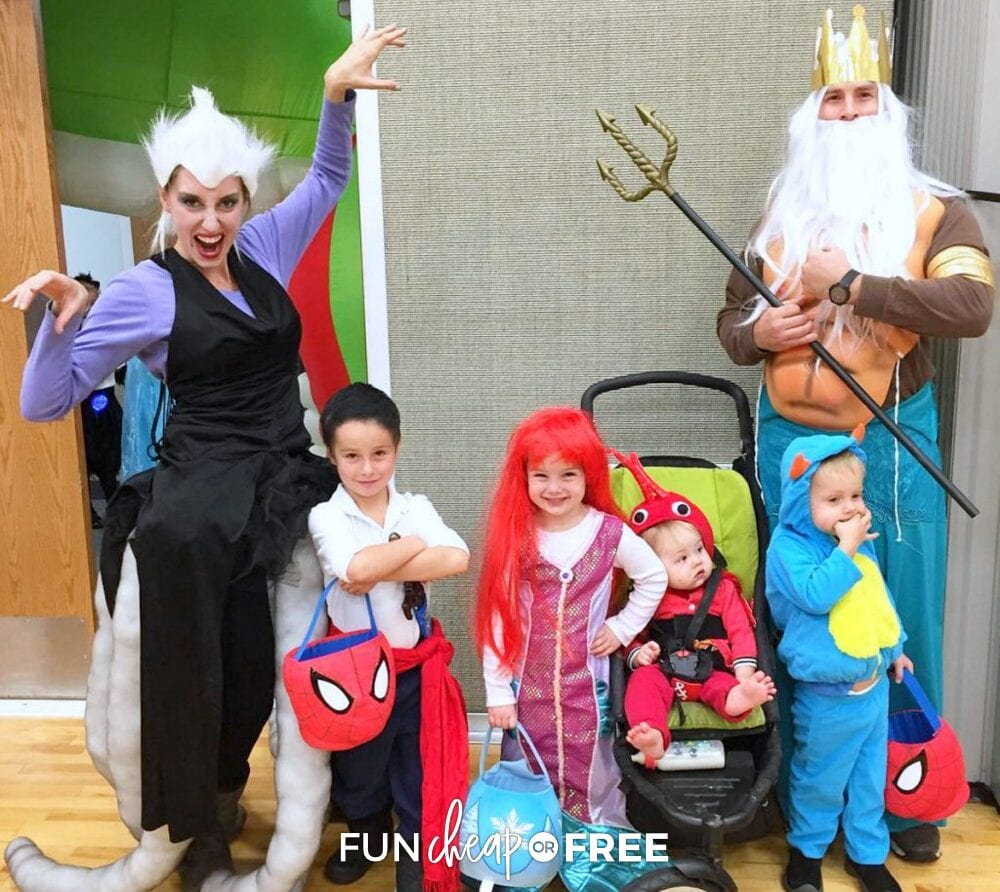 Family dressed up as The Little Mermaid characters for Halloween, from Fun Cheap or Free
