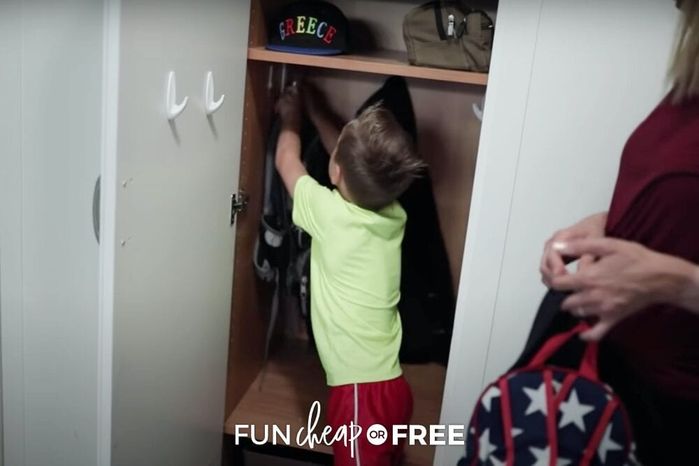 Young boy hanging up his backpack for school, from Fun Cheap or Free