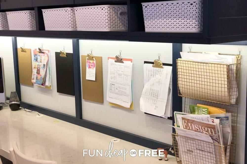 Clipboards in a homework station  and magazine holders, from Fun Cheap or Free