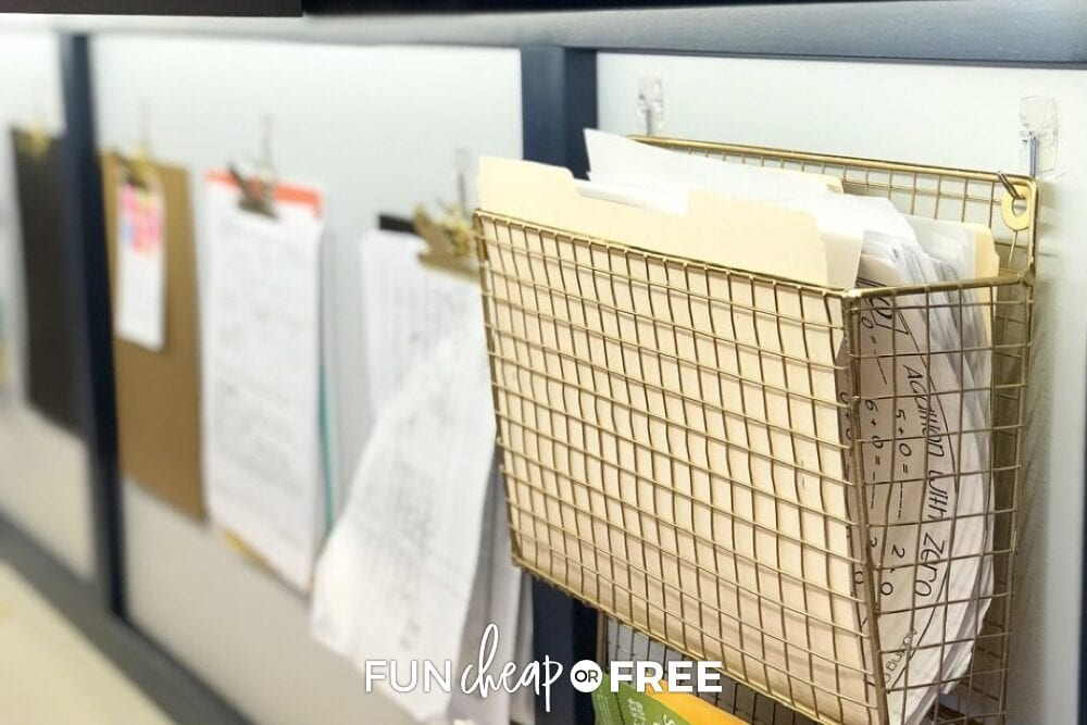 Gold mesh basket closeup with a file folder inside, from Fun Cheap or Free