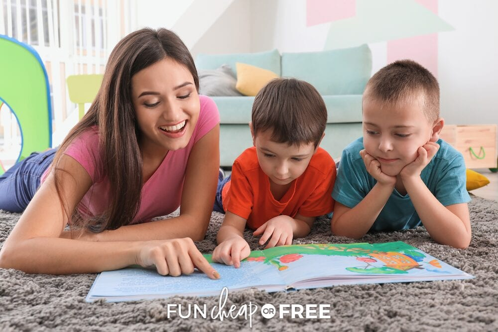 A babysitter reading a book to two boys, from Fun Cheap or Free