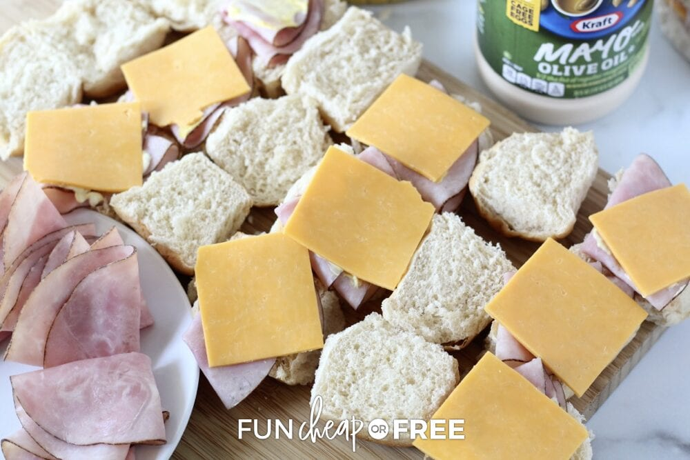 Ingredients to make frozen sandwiches, including bread, meat, cheese, and mayo, from Fun Cheap or Free