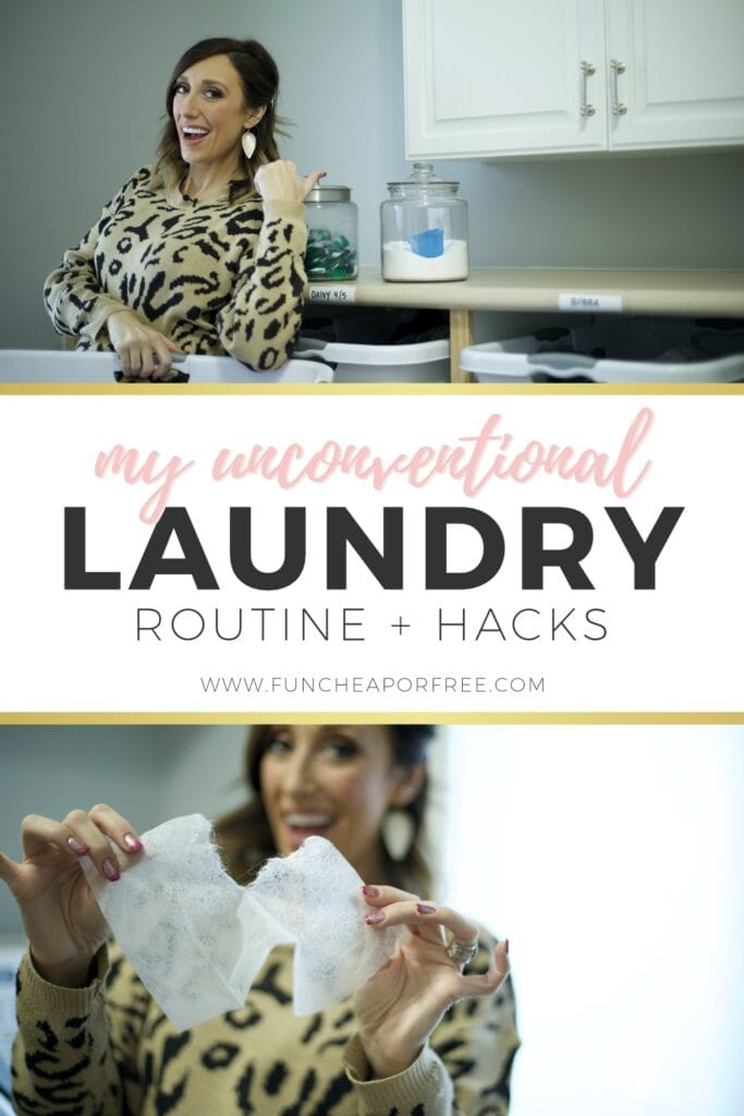"Image with text that reads ""my unconventional laundry routine"" from Fun Cheap or Free"