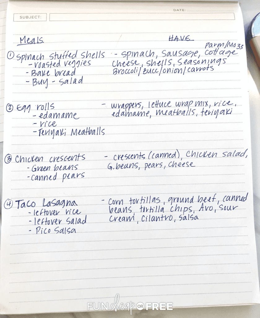 Weekly meal plan written down on a notebook, from Fun Cheap or Free