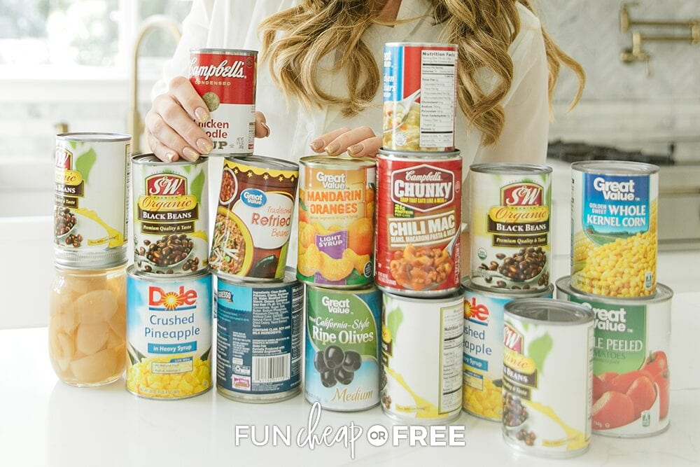 Canned pantry staples on a counter, from Fun Cheap or Free