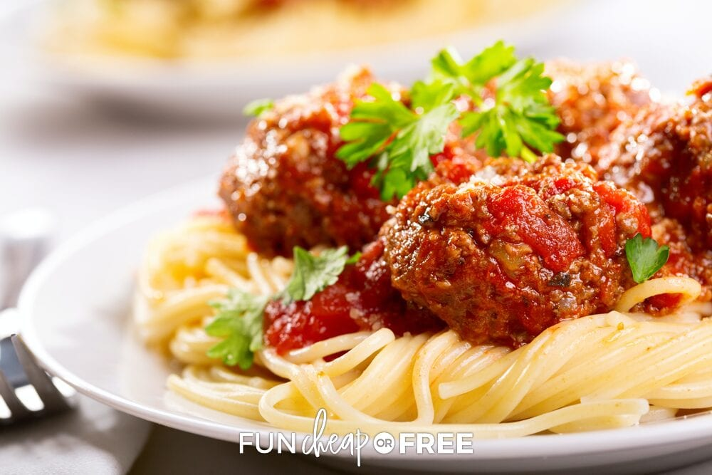 Spaghetti, sauce, and meatballs on a plate, from Fun Cheap or Free