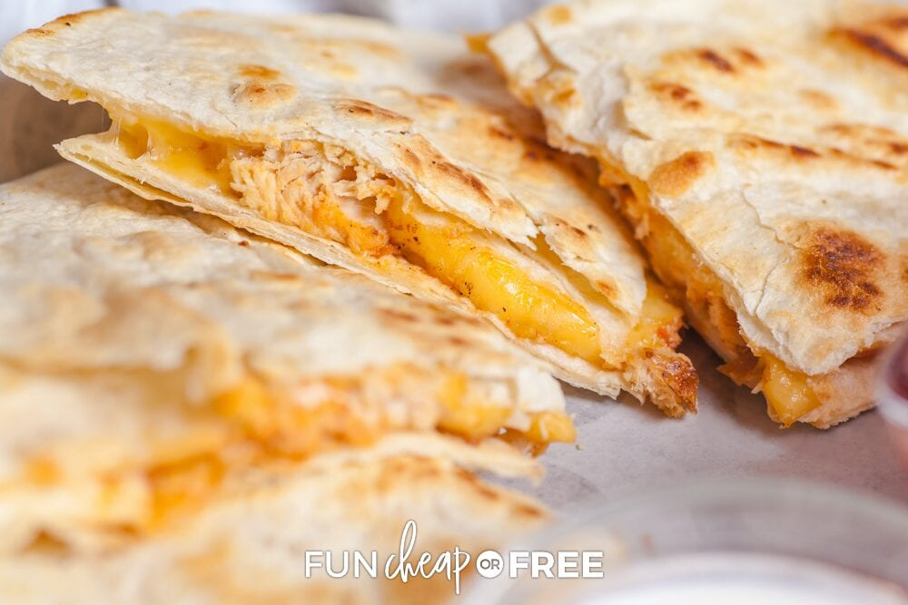 Closeup of chicken quesadillas on a plate, from Fun Cheap or Free