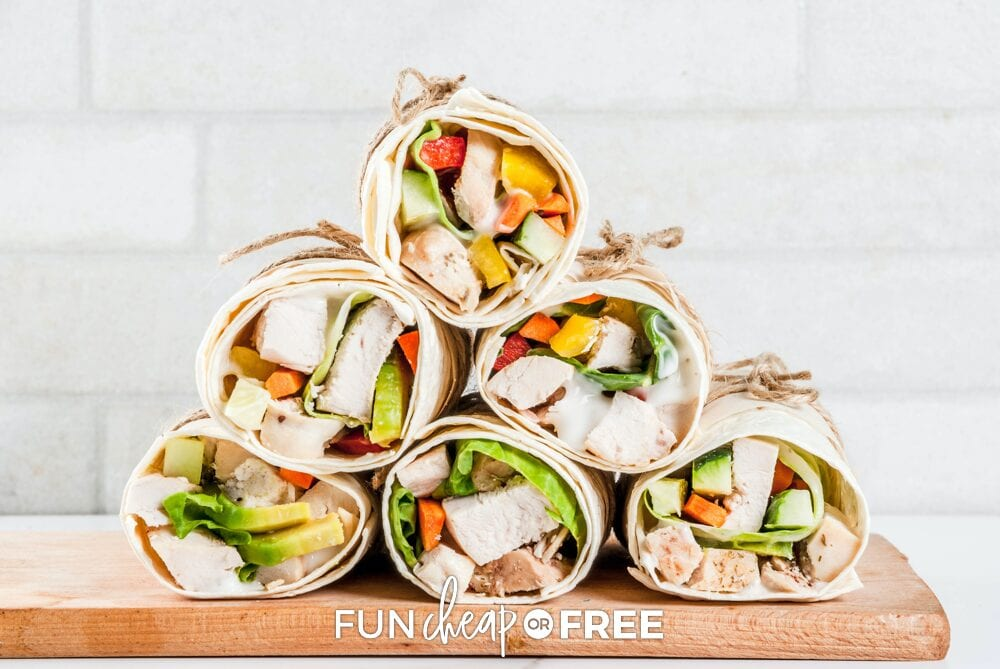 Stack of chicken and veggie tortilla wraps showing how to repurpose leftovers, from Fun Cheap or Free