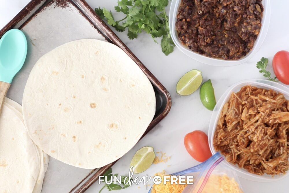 Tortillas and leftovers on a counter, from Fun Cheap or Free