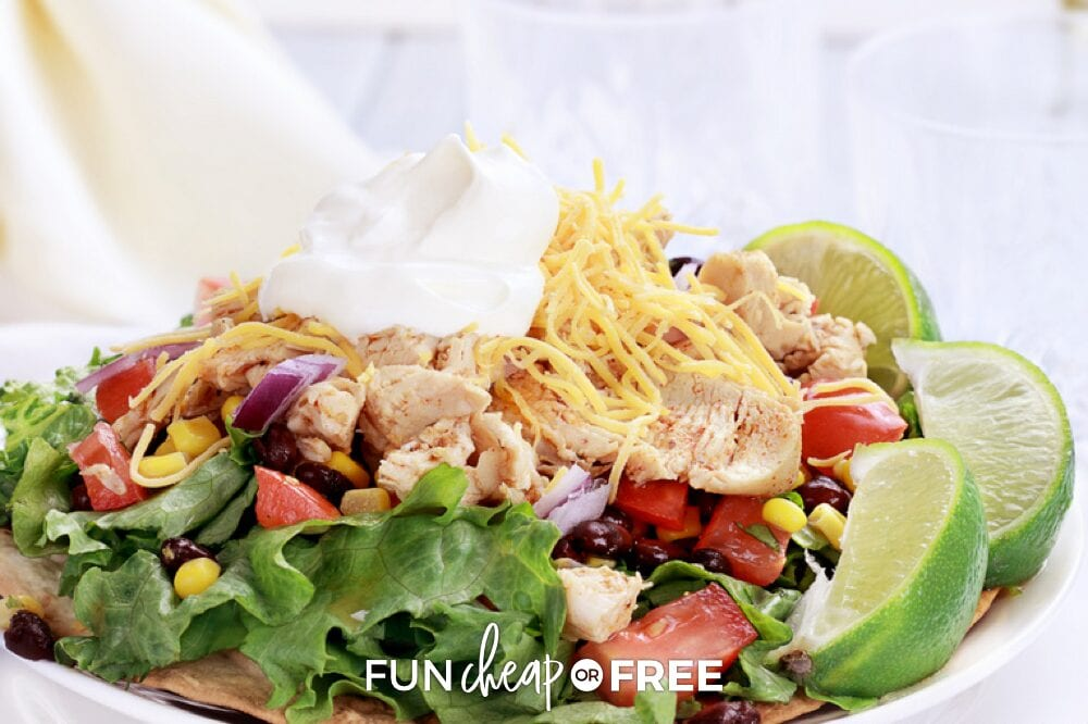 Taco salad on a plate from Fun Cheap or Free