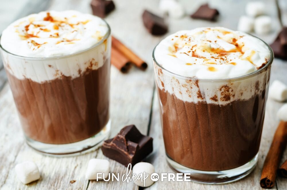 Salted caramel hot chocolate on a wooden background, from Fun Cheap or Free
