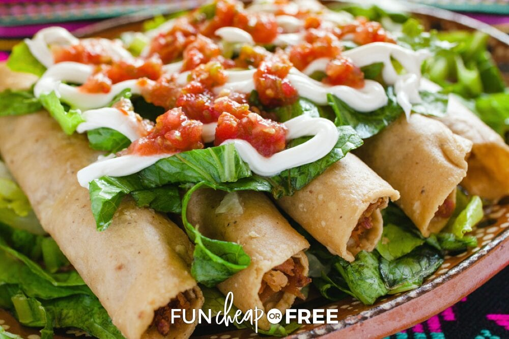 Taquitos on a plate, from Fun Cheap or Free