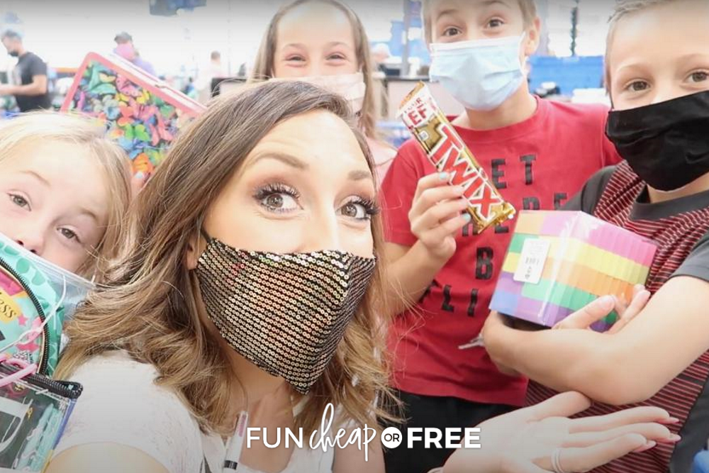 Jordan and her kids back to school shopping, from Fun Cheap or Free