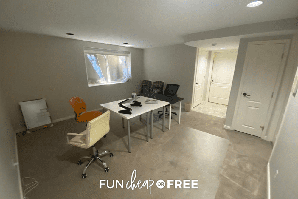 Dark basement room with chairs and small tables, from Fun Cheap or Free