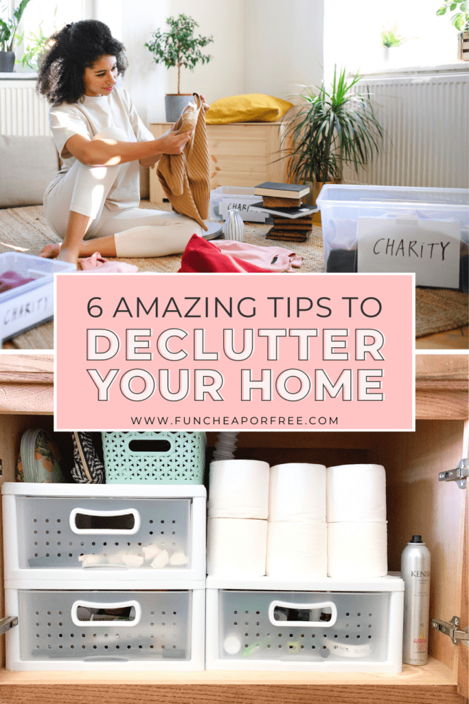 Woman learning how to declutter her home from Fun Cheap or Free