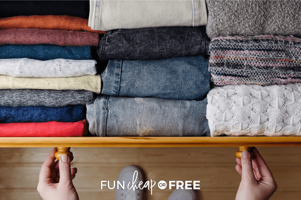 Person open a drawer of neatly folded clothes, from Fun Cheap or Free