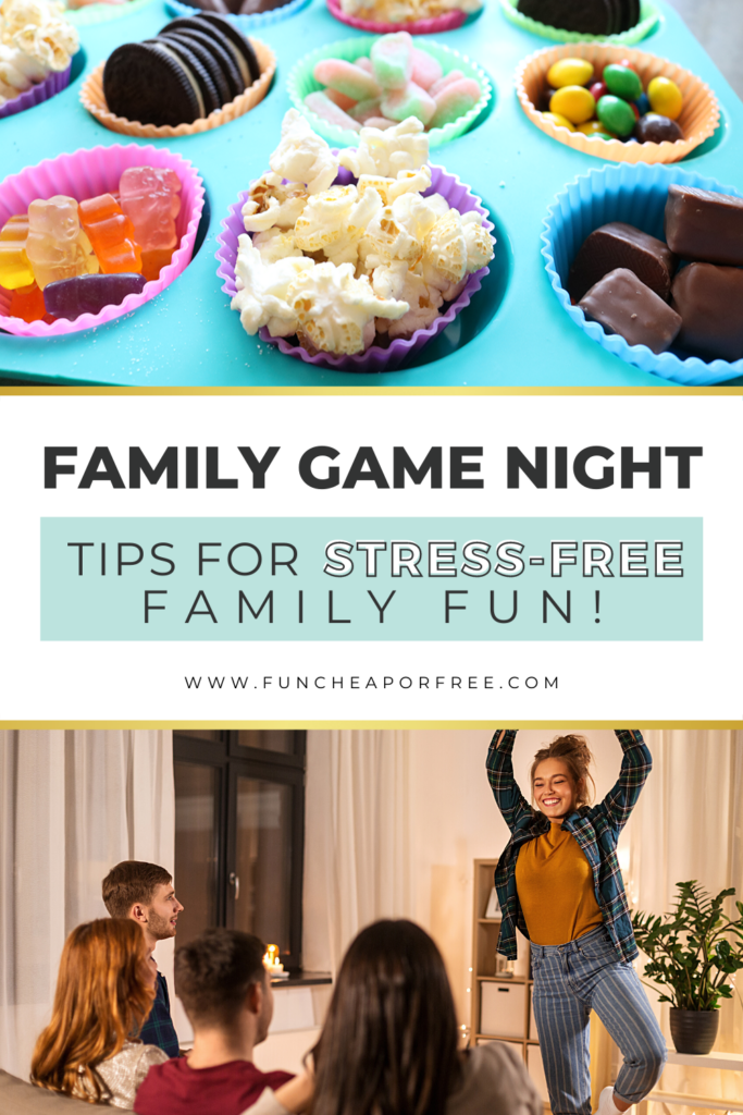 """Image with text that reads, """"tips for family game night"""", from Fun Cheap or Fun"""