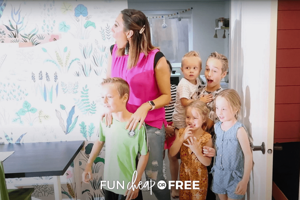 Surprised Jordan and her kids see their new homeschool room, from Fun Cheap or Free