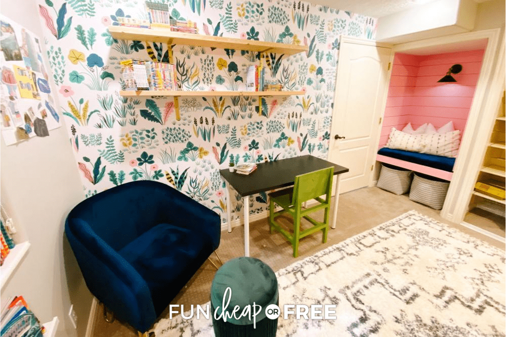 Homeschool Room with floral wallpaper, a reading nook, shelves, and a desk, from Fun Cheap or Free