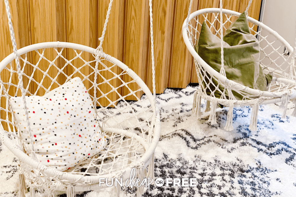 Reading room hanging macrame chairs from Fun Cheap or Free