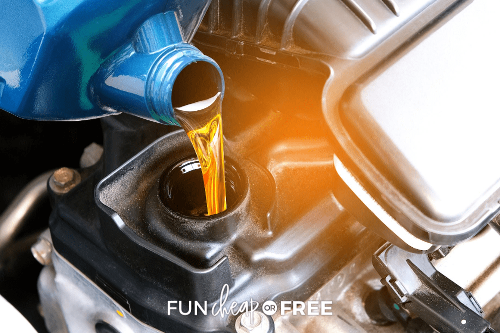 motor oil being poured into an engine from FunCheaporFree