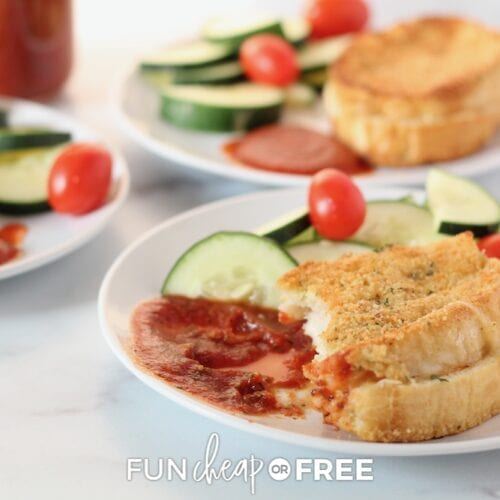 Baked Italian sandwich recipe on a plate, from Fun Cheap or Free