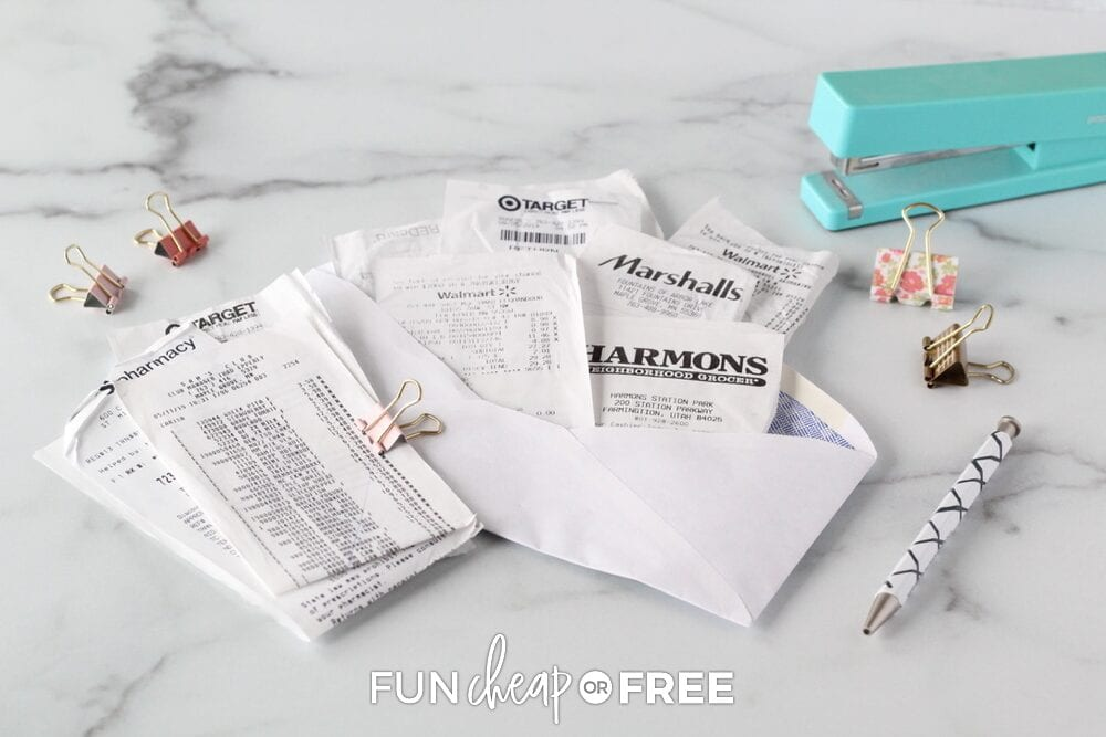 Receipts in an envelope on a counter, from Fun Cheap or Free