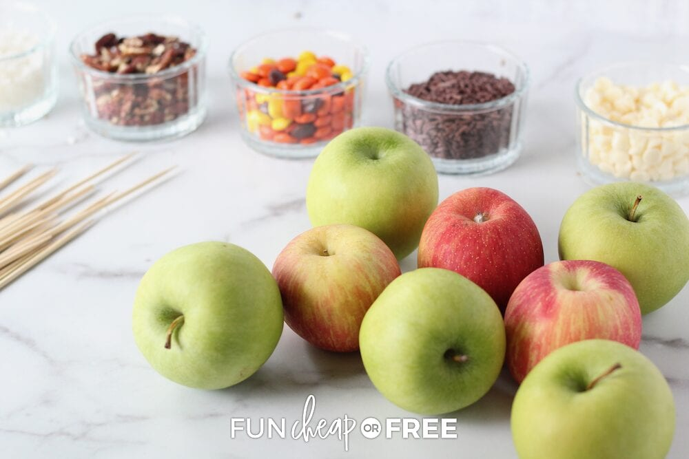 Caramel apple bar items, such as toppings, skewers, and apples, from Fun Cheap or Free