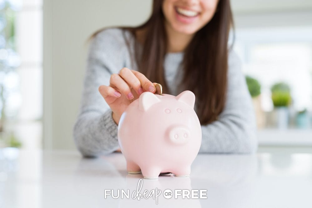 Woman putting coins in a piggy bank, from Fun Cheap or Free