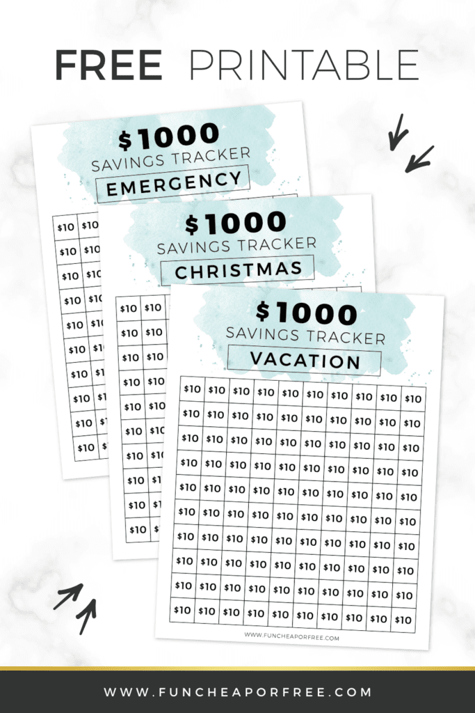Free Printable trackers showing $10 denominations, from Fun Cheap or Free