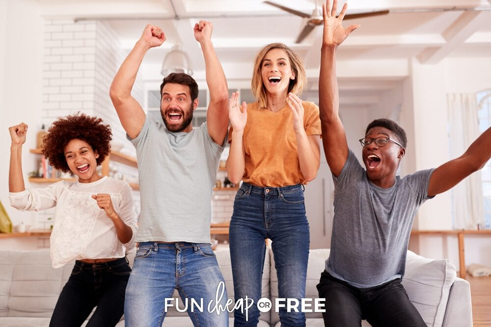 Friends excitedly cheering while watching game, from Fun Cheap or Free